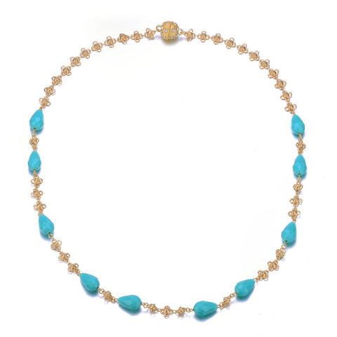 Amrita Sen Palace: Gold Turquoise Necklace-Jewels to Jet-Magnetic Clasp Jewelry