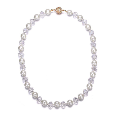 Bali: Pearls & Sparkling Crystals Necklace With Magna Clasp-Jewels to Jet-Magnetic Clasp Jewelry