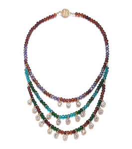 Lyric: Dark Topaz/Crystal Multi-Strand Necklace-Jewels to Jet-Magnetic Clasp Jewelry