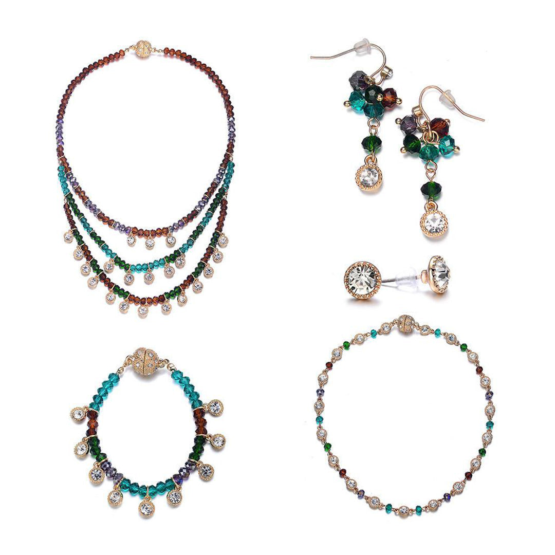 Lyric: Dark Topaz 5-Piece Full Set Jewelry Collection-Jewels to Jet-Magnetic Clasp Jewelry