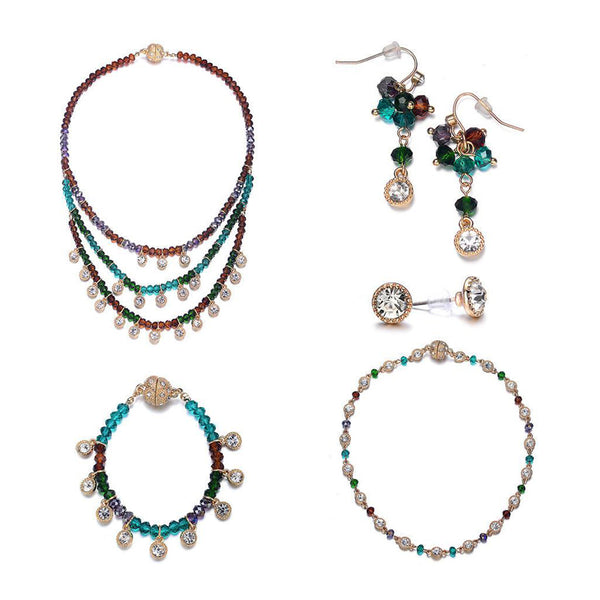 Lyric: 5 Piece Vintage-inspired Green / Dark Topaz Jewelry Set With Magna Clasp-Jewels to Jet-Magnetic Clasp Jewelry