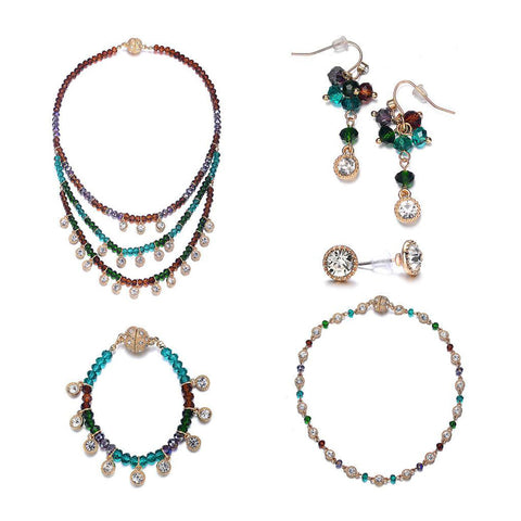 Lyric: 5 Piece Vintage-inspired Green / Dark Topaz Jewelry Set With Magna Clasp - Jewels to Jet