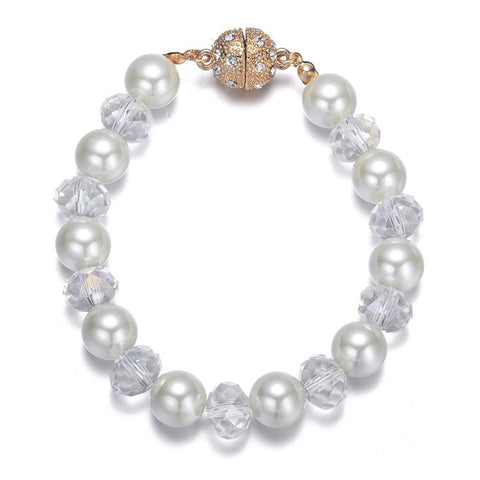 Bali: Pearl and Crystal Bracelet With Magna Clasp-Jewels to Jet-Magnetic Clasp Jewelry