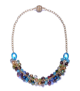 New Monet: Colorful Half Beaded Chunky Necklace-Jewels to Jet-Magnetic Clasp Jewelry