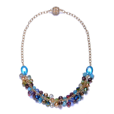 New Monet: Colorful Half Beaded Chunky Necklace With Magna Clasp - Jewels to Jet