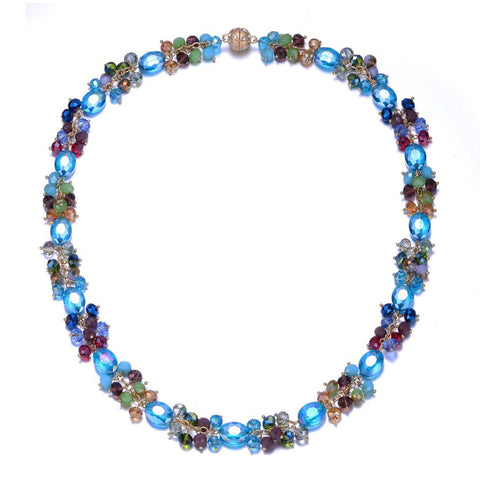 New Monet: Colorful Long Necklace With Magna Clasp-Jewels to Jet-Magnetic Clasp Jewelry