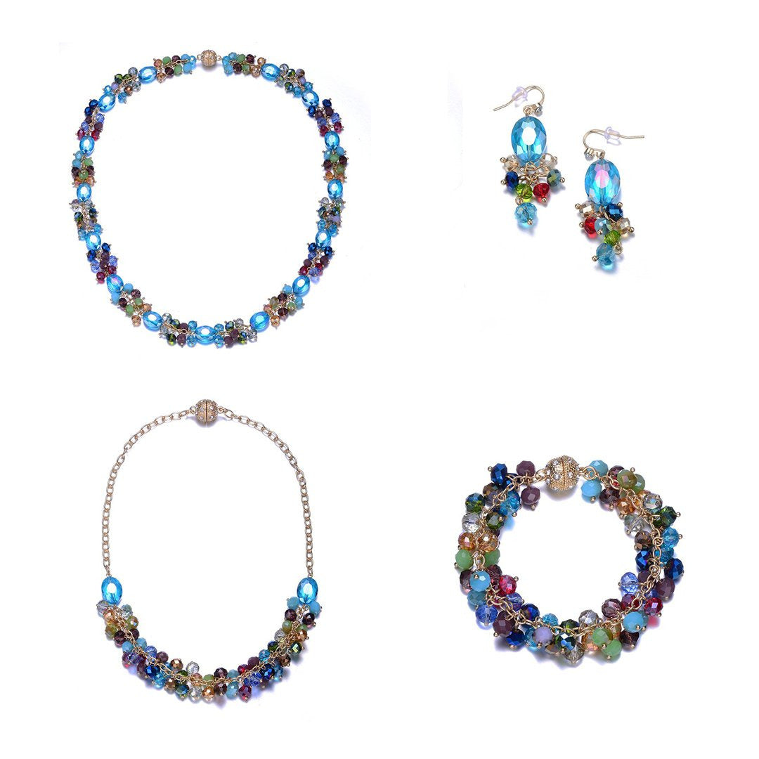 New Monet: 5 Piece Colorful Jewelry Set With Magna Clasp-Jewels to Jet-Magnetic Clasp Jewelry