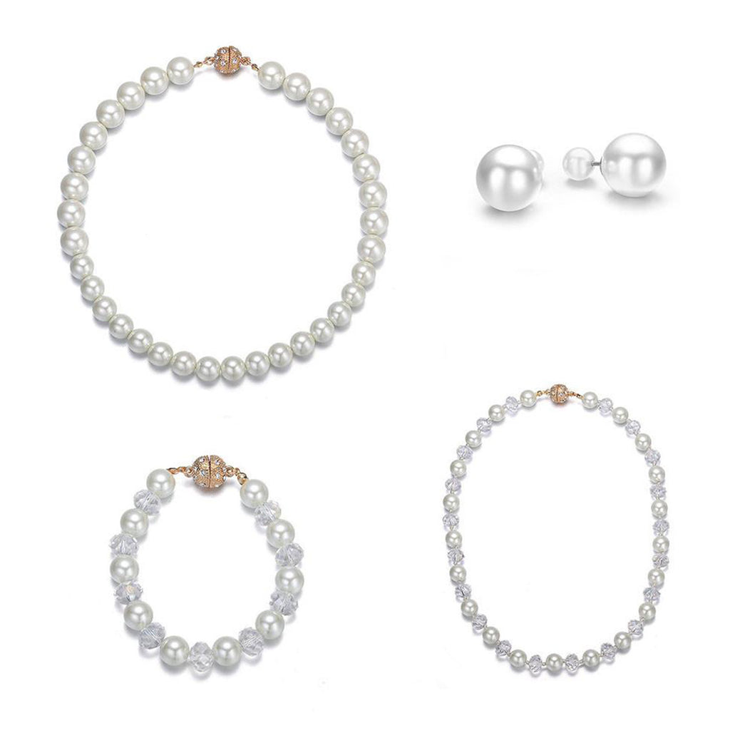 Bali: 4 Piece Pearl Jewelry Set With Magna Clasp-Jewels to Jet-Magnetic Clasp Jewelry