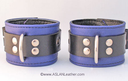 Aslan Leather Purple Jaguar Leather Wrist Cuffs -  Wrist Cuffs - Spot of Delight