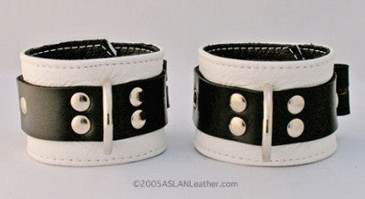 Aslan Leather White Jaguar Wrist Cuffs -  Bondage - Spot of Delight
