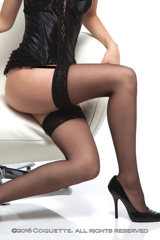 Coquette Sheer Stockings with Lace Top -  Stockings - Spot of Delight - 1