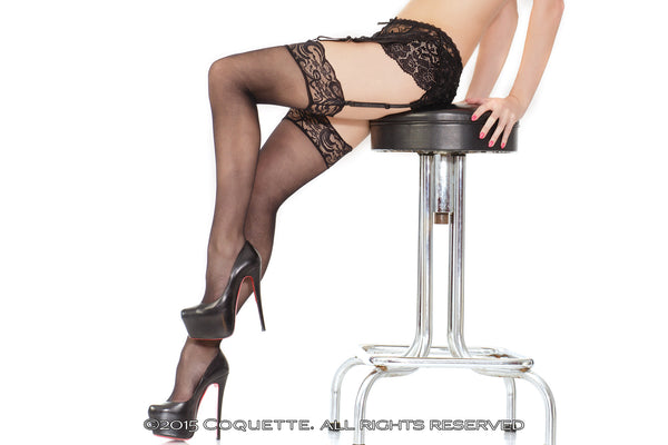 Coquette Sheer Stockings with Lace Top -  Stockings - Spot of Delight - 5
