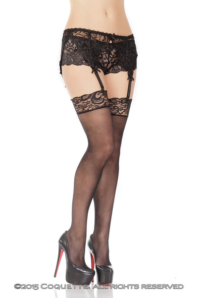 Coquette Sheer Stockings with Lace Top - Black / Regular Stockings - Spot of Delight - 3