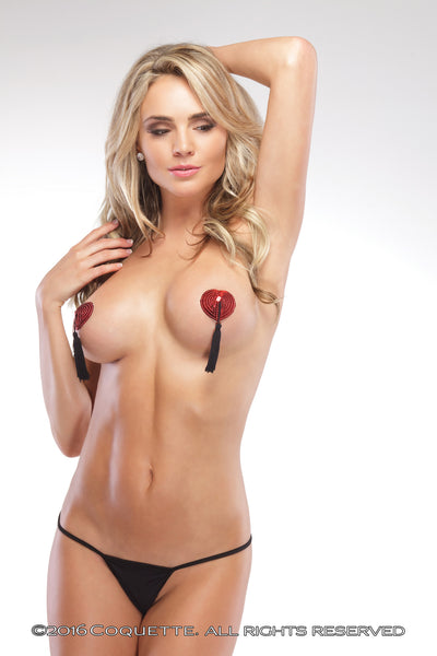 Coquette Heart Pasties with Tassles -  Lingerie Accessories - Spot of Delight - 3
