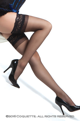 Coquette Sheer Stay Ups - Regular Stockings - Spot of Delight - 1