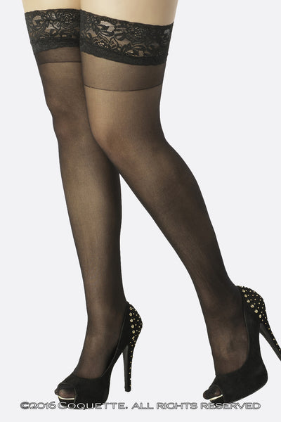 Coquette Sheer Stay Ups - Plus Size Stockings - Spot of Delight - 2