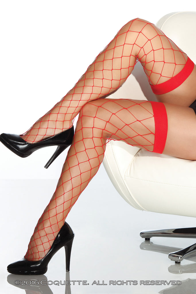 Coquette Red Fishnet Thigh Highs -  Stockings - Spot of Delight - 1