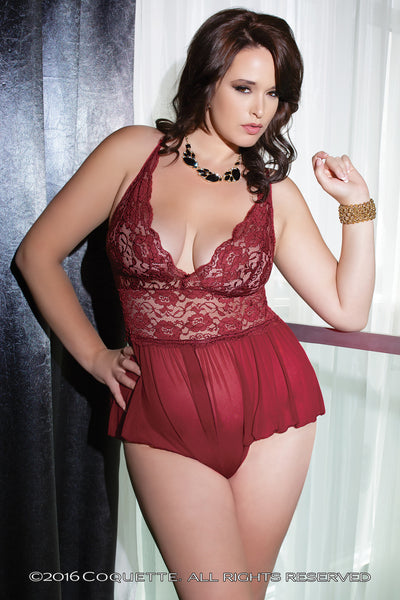 Coquette Merlot Teddy - Plus Size Teddys - Spot of Delight - 3
