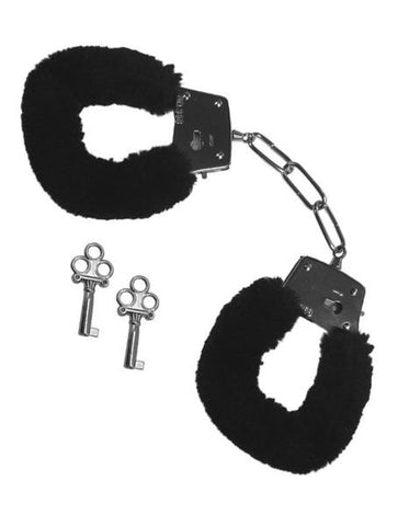 Sportsheets Black Furry Hand Cuffs -  Wrist Cuffs - Spot of Delight