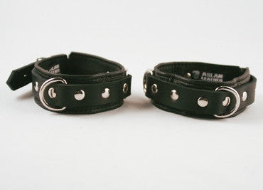 Aslan Leather Black Leather Cumfy Ankle Cuffs -  Ankle Cuffs - Spot of Delight