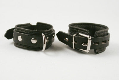 Aslan Leather Black Leather Cumfy Wrist Cuffs -  Wrist Cuffs - Spot of Delight - 2