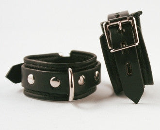 Aslan Leather Black Leather Cumfy Wrist Cuffs -  Wrist Cuffs - Spot of Delight - 1
