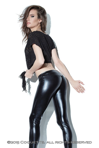 Coquette Wet Look Leggings -  Club Wear - Spot of Delight - 1