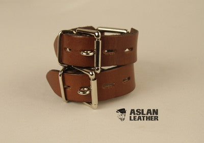 Aslan Leather Tan Leather Handy Cuff -  Wrist Cuffs - Spot of Delight - 3