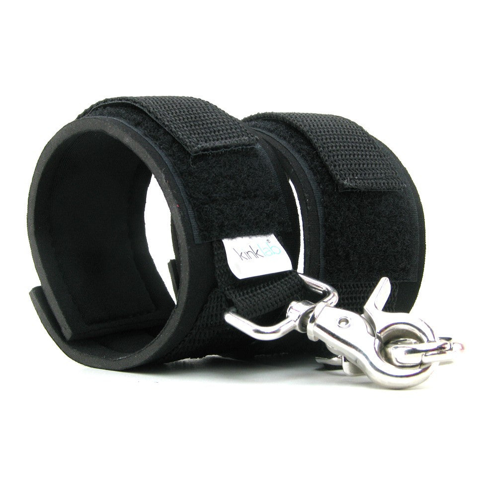 Kink Lab Neoprene Cuffs - Black Wrist Cuffs - Spot of Delight - 4