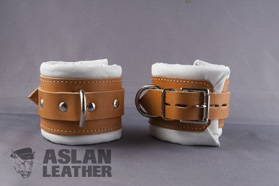 Aslan Leather Tan Padded Leather Wrist Cuffs -  Wrist Cuffs - Spot of Delight - 2