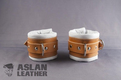 Aslan Leather Tan Padded Leather Wrist Cuffs -  Wrist Cuffs - Spot of Delight - 1