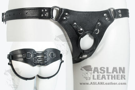 Aslan Leather Black Leather Minx Harness Set -  Harness - Spot of Delight - 1