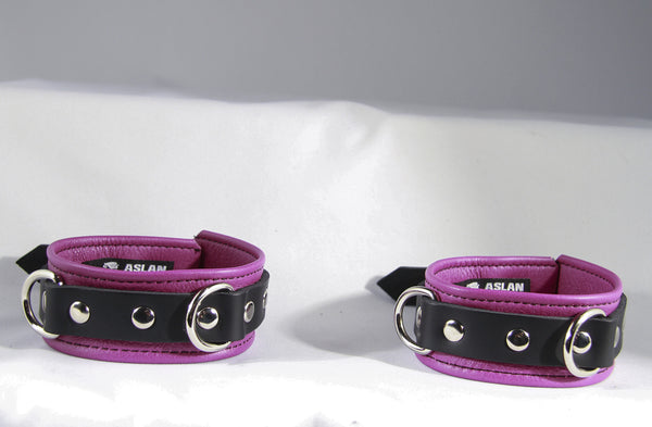 Aslan Leather Fuchsia Nicki Leather Ankle Cuffs -  Ankle Cuffs - Spot of Delight - 2