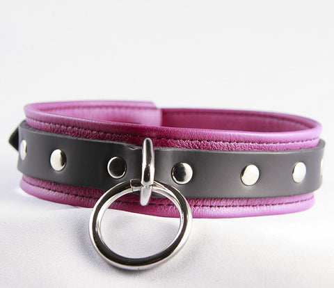 Aslan Leather Fuchsia Nicki Leather Collar -  Collars - Spot of Delight - 1