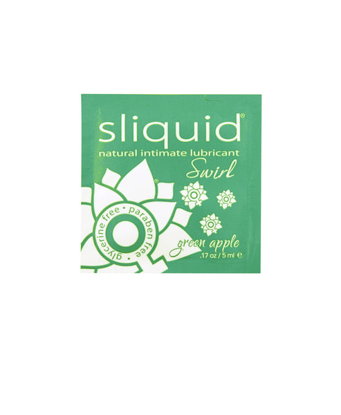 Sliquid Swirl Flavoured Lubricant - Green Apple / Pillow Pack 5 mL Lubricants - Spot of Delight - 2