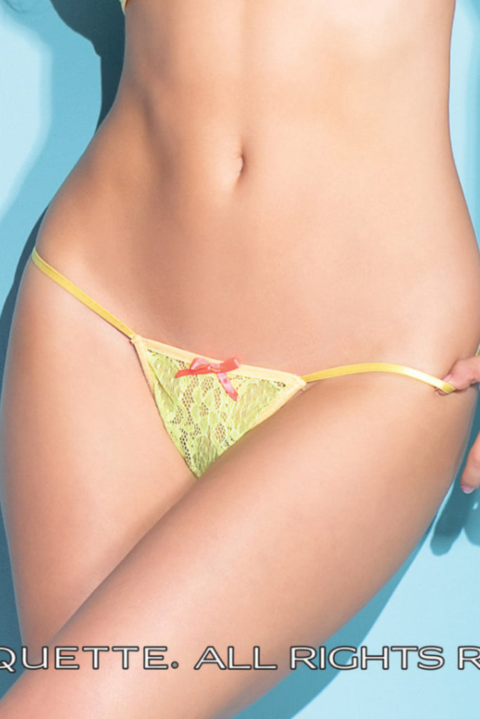 Coquette Lemon Yellow G-String -  Thongs - Spot of Delight - 1
