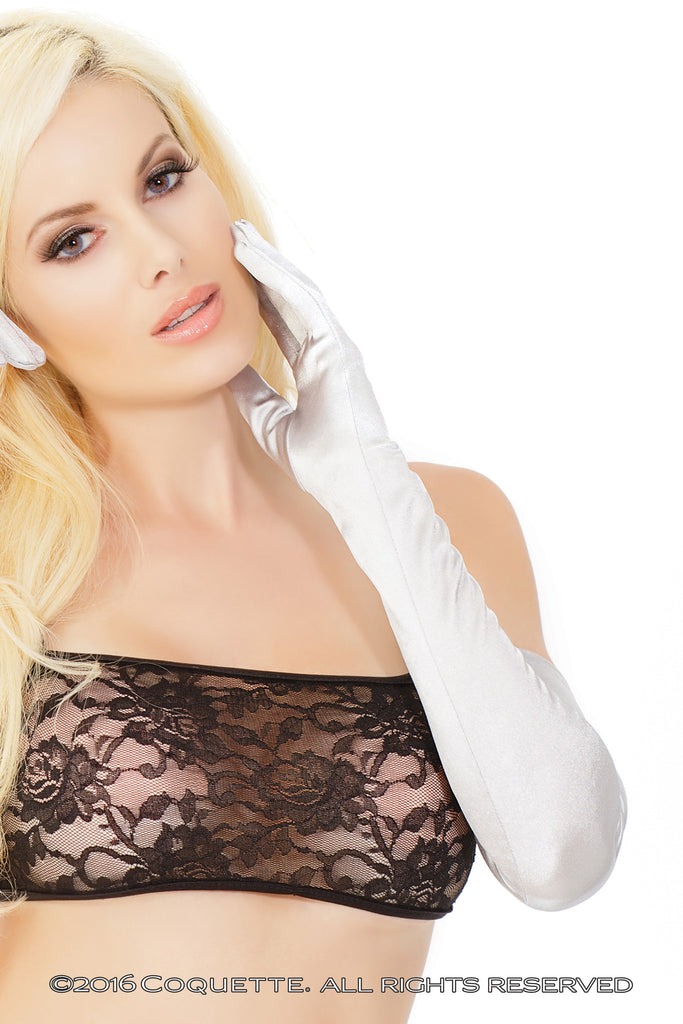 Coquette Silver Elbow Gloves -  Lingerie Accessories - Spot of Delight - 1