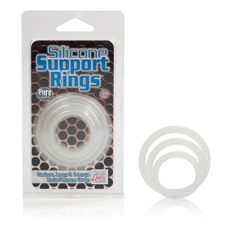 California Exotics Silicone Support Rings Clear (3) -  Cock Rings - Spot of Delight