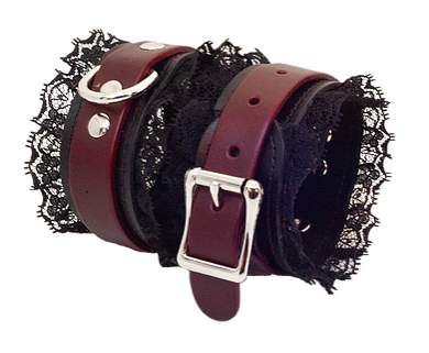 Cherry Red Leather & Lace Cuffs