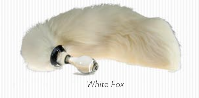 Crystal Delights Crystal Minx Faux Fur Tail Plug - White Fox - Large / Long Tail Plugs - Spot of Delight