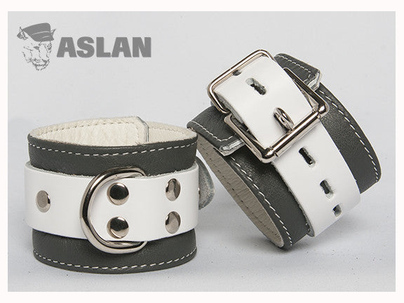 Aslan Leather Grey Jaguar Leather Ankle Cuffs -  Ankle Cuffs - Spot of Delight