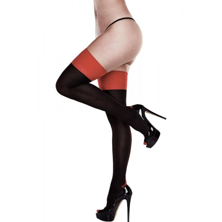 Opaque Black & Red Cuban Heel Thigh Highs