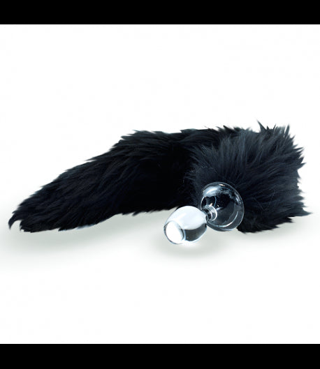 Crystal Delights Crystal Minx Faux Fur Tail Plug - Black Fox -  Tail Plugs - Spot of Delight