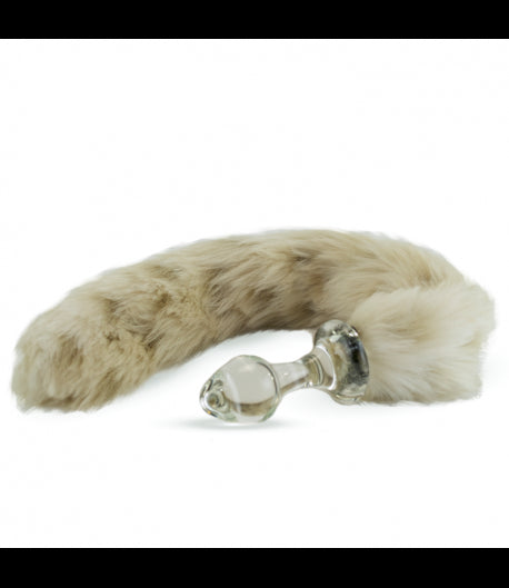 Crystal Delights Crystal Minx Faux Fur Tail Plug - Snow Leopard -  Tail Plugs - Spot of Delight
