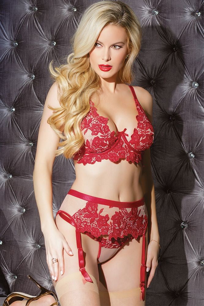 Blooming Red Embroidered Garter Belt