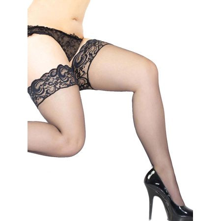 2X/3X Sheer Thigh High Stockings with Silicone Grip Lace Top