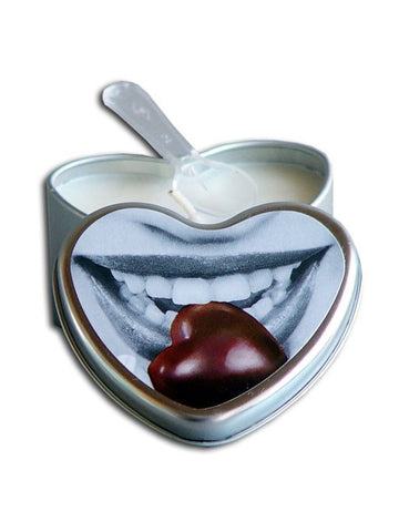 Earthly Body Edible Massage Oil Heart Candle 4.7 oz/133 g - Chocolate Massage - Spot of Delight - 1