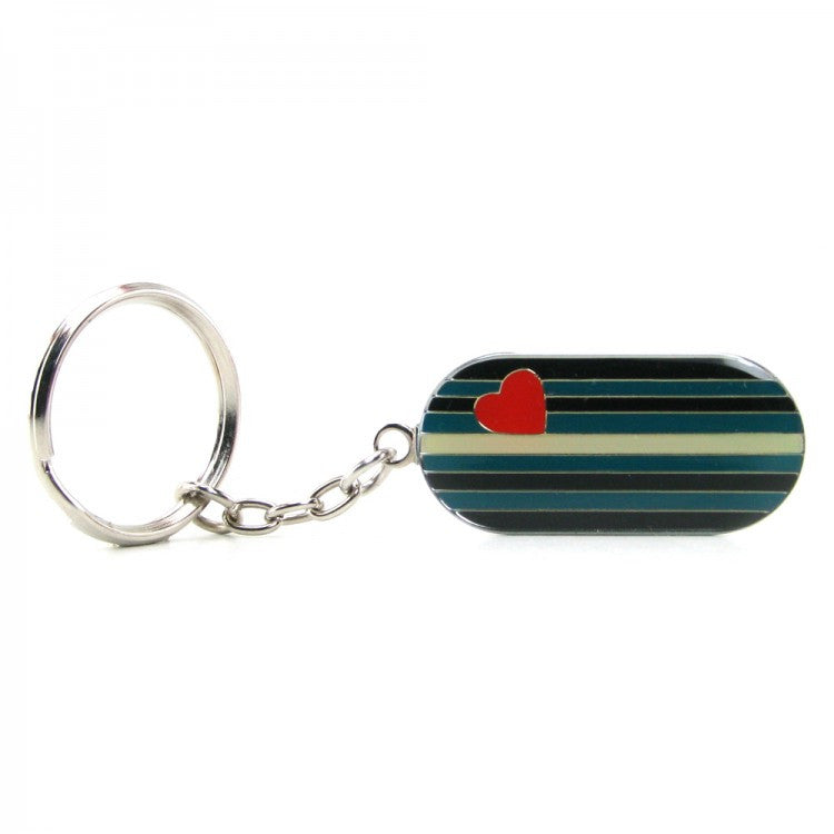 Metal Leather Flag Key Chain