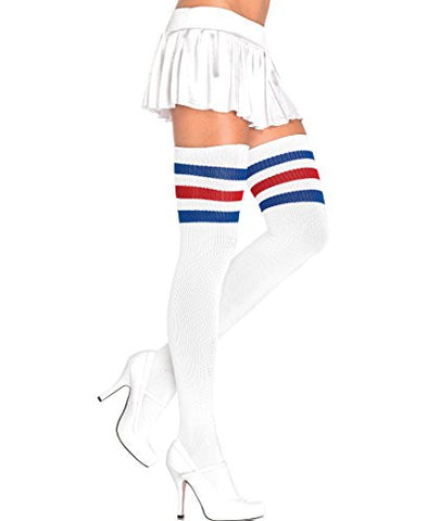 Leg Avenue 3 Stripes Athletic Ribbed Thigh Highs -  Socks - Spot of Delight - 2