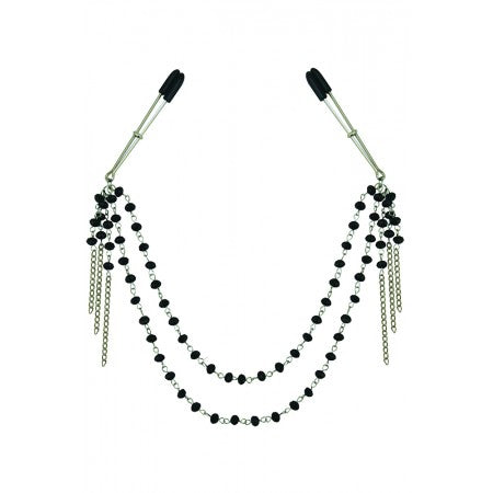 Midnight Black Onyx Jeweled Tweezer Clamps
